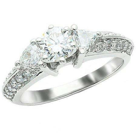 1.25 Carat Round Cut/Shape 14K White Gold Split Shank Pave Set Trillion And Round Diamond Engagement Ring ( H-I Color , Si2-I1 Clarity )