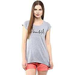 Fritzberg Soft Slim Printed Grey Round Neck Top