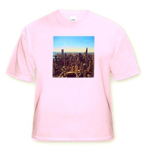 Chicago Skyline cartoon - Adult Light-Pink-T-Shirt XL