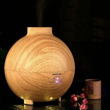 Better Tech 600ML Pod Shaped Wood Grain Aromatherapy Diffuser Ionizer Ultrasonic Humidifier Use with Essential Oils