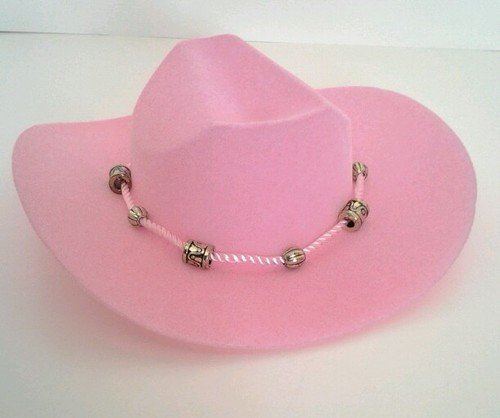 PINK WESTERN COWGIRL HAT WITH BEADED ROPE DESIGN FOR AMERICAN GIRL DOLLS