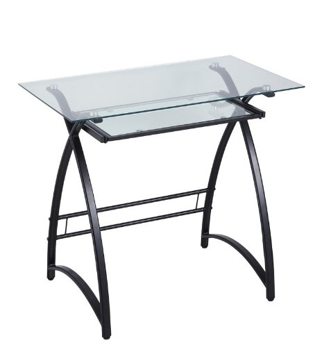 Buy low price comfortable metal computer desk with glass top in black finish b0042j2c8i - Metal and glass desks ...