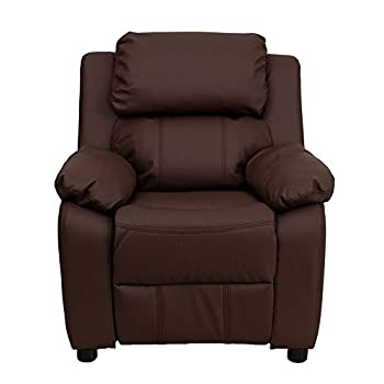 Flash Furniture BT-7985-KID- BRN-LEA-GG Deluxe Heavily Padded Contemporary Brown Leather Kids Recliner with Storage Arms