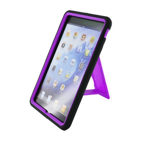 Eagle Cell Paipadminispstplbk Advanced Rugged Armor Hybrid Combo Case With Kickstand For Ipad Mini - Retail Packaging - Purple/Black front-976368