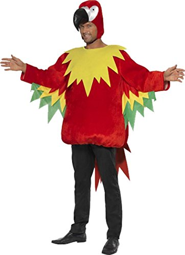 [Adult Animal Fancy Dress Outfit Parrot Costume Multi-coloured Med Chest 38
