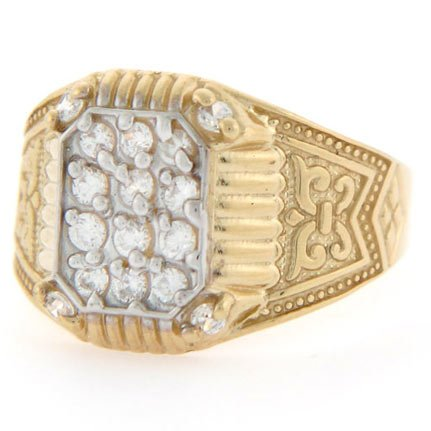 9ct Yellow Gold Cluster CZ Rectangular Mens Ring