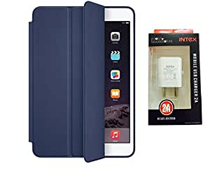 D'clair Premium Smart Case Flip Cover and Intex Wall Charger For iPad Mini 2/...