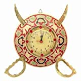 Little India Rajasthani Real Brass Sword Armour Wall Clock (107, Brown)
