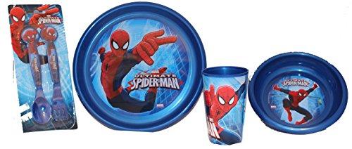 Marvel Spiderman Set per colazione con tazza, ciotola, piatto e posate