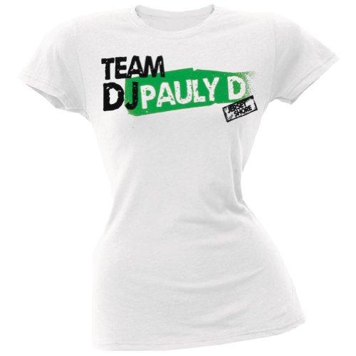 Jersey Shore - Womens Team Dj Pauly D Ladies T-Shirt Medium White