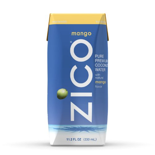 ZICO Pure Premium Coconut Water, Mango, 11.2 oz Tetra Paks