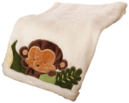 Kids Line Jungle 123 Boa Blanket, White (Discontinued by Manufacturer)