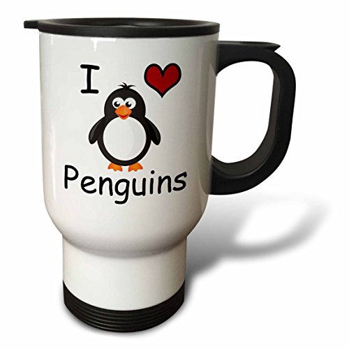 3dRose I Love Penguins Animal Humor Penguin Lovers Travel Mug, Stainless Steel, 14-Ounce