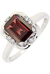 Vintage Style Sterling Silver Emerald Cut Genuine Mozambique Garnet Ring (1.7 CT.T.W)