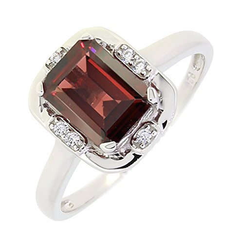 Vintage Style Sterling Silver Emerald Cut Genuine Mozambique Garnet Ring