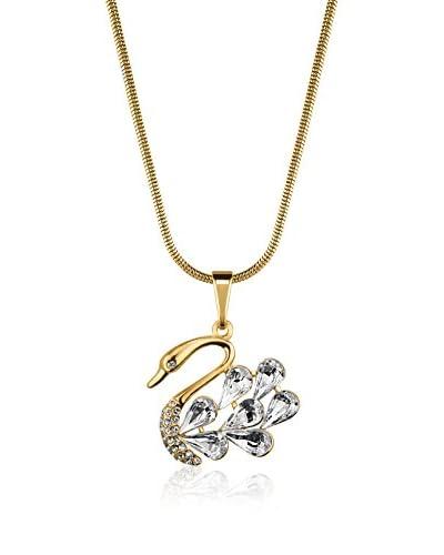 ZZ_Philippa Conjunto de cadena y colgante 7 Crystal Feathers Swan metal bañado en oro 24 ct