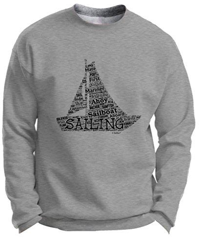 [Sailing Gift Sailing Word Collage Sailing Fan Gift Premium Crewneck Sweatshirt Medium LtStl] (Authentic Pirate Coats)