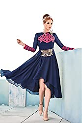 Angroop Womens Georgette Stitched Cut Dress (Blue)