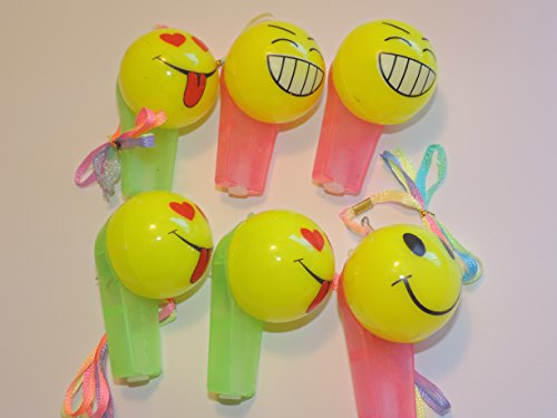 The Amazing Light-Up Happy Face Whistle - Makes A Great Stocking Stuffer! Set of 6 - 1