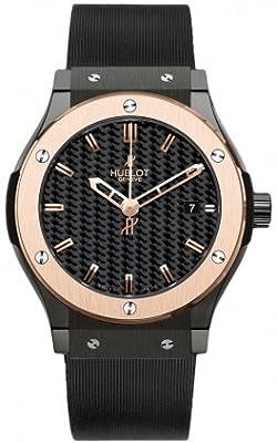 Hublot Classic Fusion Black Carbon Fiber Dial Rose Gold Black Rubber Mens Watch 511.CP.1780.RX