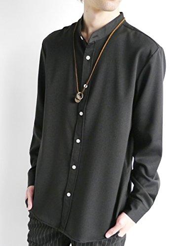 (モノマート) MONO-MART スーツ地 ストレッチ シャツ バンドカラー ノーカラー 長袖 着心地 L/S ナチュラル MODE メンズ ブラック Lサイズ