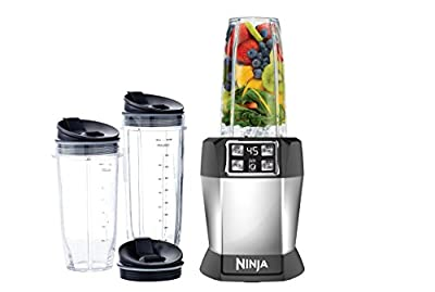 Nutri Ninja BL480D Personal Blender with 1000-Watt Auto-iQ Base to Extract Nutrients for Smoothies, Juices and Shakes and 18, and 24-Ounce Cups/FREE NUTEK EARBUDS (Certified Refurbished)
