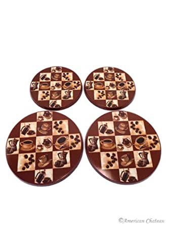 Set 4 Piece Coffee Cafe Bistro Burner Stove Top Covers Cover Kitchen Decor