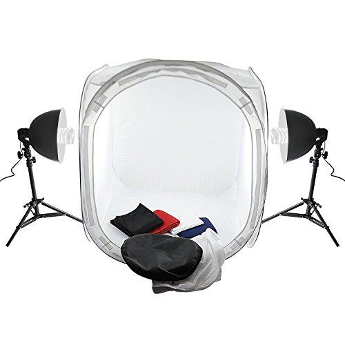 Amzdeal® Studio Fotografico Tenda Studio cubo di 80cm x 80cm x 80 cm con lampada 2x135W con treppiede studio fotografico e 4 panno sfondo bianco / nero / rosso / blu (80 X80X80)