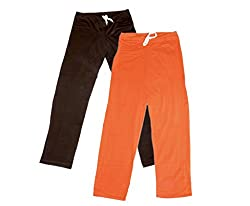 IndiWeaves Women Super Combo Pack 4 (Pack of 2 Lower/Track Pant and 2 T-Shirt)_Brown::Orange::Gray ::Black _XL