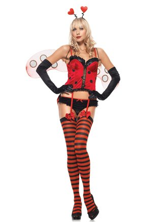 Sexy Corset Lady Bug Costume Insect Fairytale Sweetheart Costume Red Black Busti