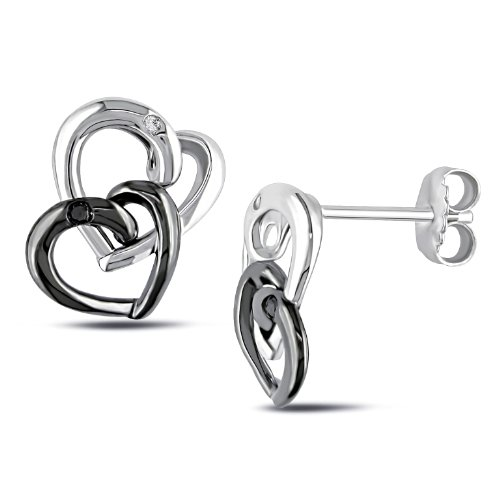 Sterling Silver 0.04 CT TDW Black and White Diamond Heart Stud Earrings (G-H, I2-I3)
