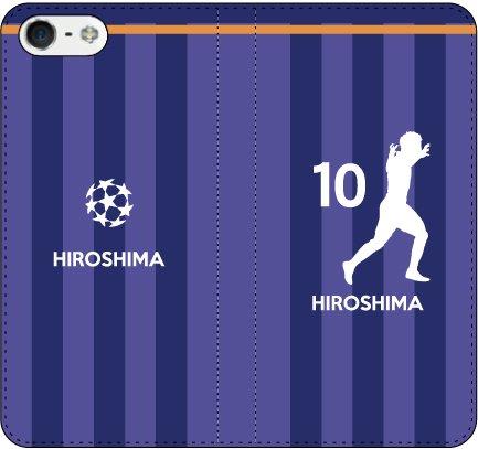 iPhone用選択可:サッカー手帳ケース(広島:10番_A)レザー/手帳型 iPhone6 Plus/6s Plus用