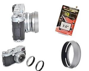 Parasoleil et adaptateur à filtre 49mm pour Fuji Finepix X100 / X100s et Protection professionnelle de l'écran dotée d'un verre authentique