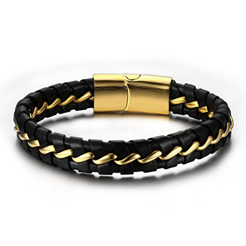 Time Pawnshop Personalize Golden Stainless Steel Black Braided Leather Wrist Bracelet for Men (Developer Sex compare prices)
