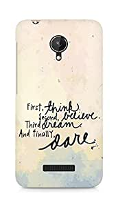 AMEZ think belive dream dare Back Cover For Micromax Canvas Spark Q380