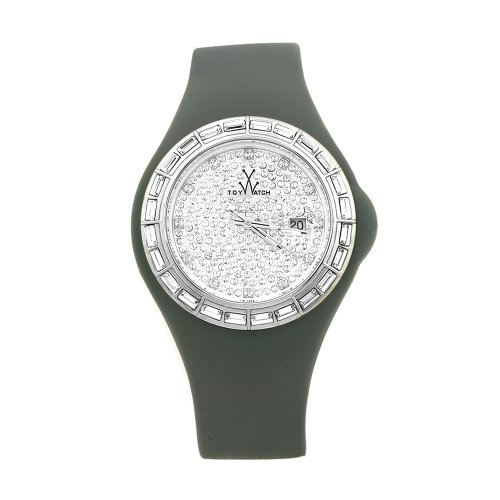 Toy Women's JYGYS|PAVE Jelly Grey Silicone Strap Crystal Dial Watch