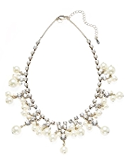 M&S Collection Diamanté & Pearl Effect Drop Necklace