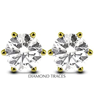 0.60 Carat Round Natural Diamond AGI Certified G-VS2 Excellent Cut 14k Yellow Gold 6-Prong Setting Classic Style Studs Earrings