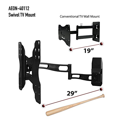 full motion tv wall mount with 29 inch long extension fits 32 to 65 inch tv 39 s aeon 40112. Black Bedroom Furniture Sets. Home Design Ideas
