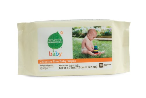 Seventh Generation Baby Wipe Travel Packs, Chlorine Free and Unscented, 36-Count Packs (Pack of 12) (432 Wipes)