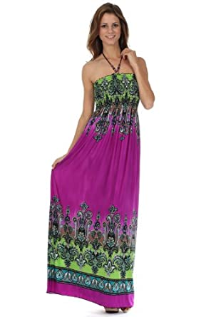 Sakkas Paisley1A-7931 Paisley Graphic Print Beaded Halter Smocked Bodice Maxi Dress - Purple / Green - Large
