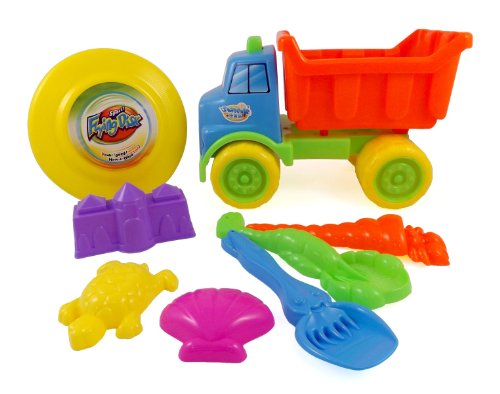 Beach Dump Truck with Frisbee - 8pc Sand Toys Set for Kids