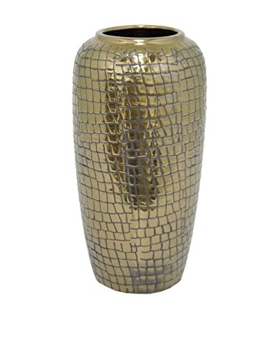 Three Hands Textured Ceramic Vase, Bronze