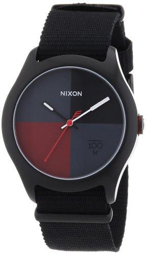Nixon The Quad All Black / Dark Red Nylon, Orologio da polso Uomo