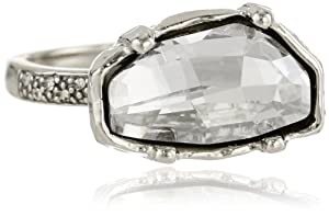 Made Her Think Faceted Dame Pave Ring, Size 7