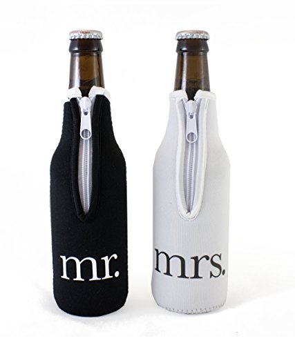 Bridal Shower Gift Mr and Mrs Wedding Beer Bottle Coolies - (Black and White) Set of 2