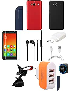 NIROSHA Tempered Glass Screen Guard Cover Case Charger Headphone Mobile Holder car Combo for Xiaomi Redmi 2s Combo