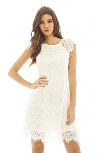 AX Paris Women's Capped Sleeve Crocheted Lace Dress(Cream, Size:6)