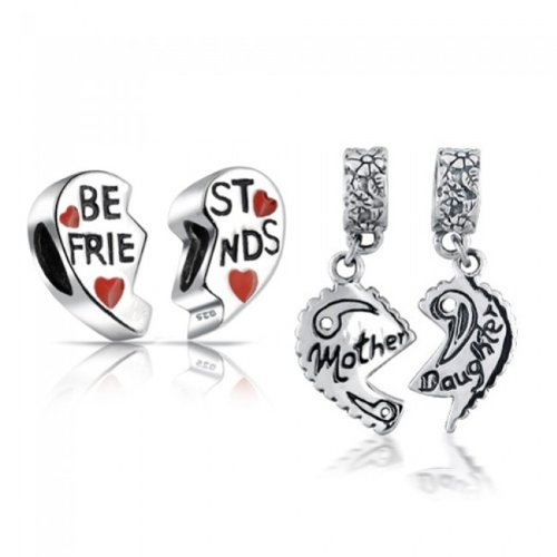 Bling Jewelry Sterling Mother Daughter Best Friends Heart Bead Set Fits Pandora