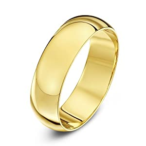 9ct Yellow Gold Heavy D Shape 6mm Wedding Ring - Size W